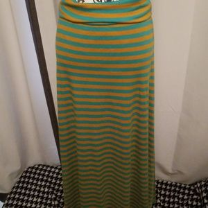 NWOT Maxi Lularoe, Yellow and Teal Striped Skirt S